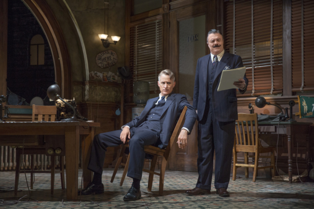 John Slattery and Nathan Lane star in Ben Hecht and Charles MacArthur's The Front Page, directed by Jack O'Brien, at Broadway's Broadhurst Theatre.