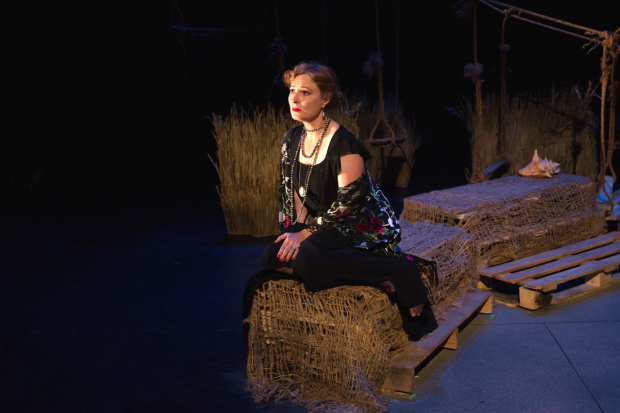 Amanda Jones plays Anaïs Nin in David Stallings'  Anaïs Nin Goes to Hell, directed by Antonio Minino, at the Theater at the 14th Street Y.