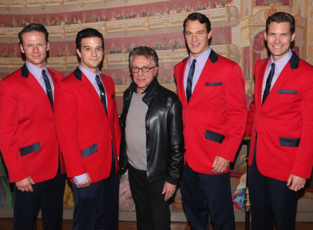 Frankie Valli hands out with the current cast of Jersey Boys: Nicholas Dromard, Mark Ballas, Matt Bogart, Drew Seeley.