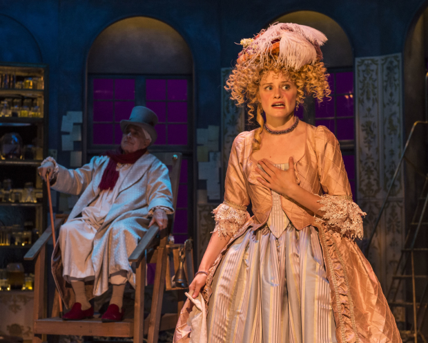 Apollo Dukakis (Argan) and Kelsey Carthew (Angélique) in The Imaginary Invalid, directed by Julie Rodriguez-Elliott, at A Noise Within.