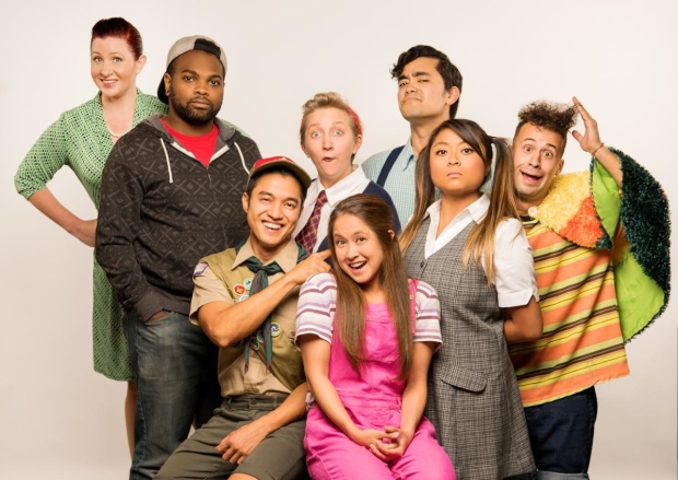 The cast of The 25th Annual Putnam County Spelling Bee, directed by Matthew McCoy, at Alcazar Theatre for Bay Area Musicals!