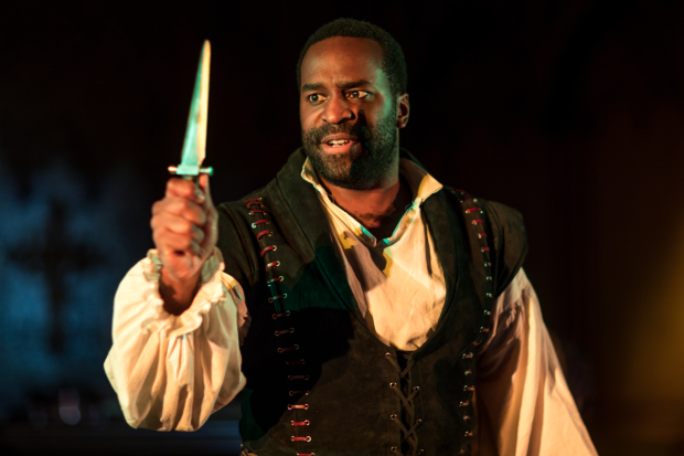 Omar Robinson as the title character in Hamlet, directed by Doug Lockwood, at Actors' Shakespeare Project.