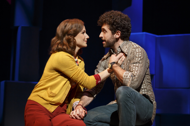 Stephanie J. Block plays Trina and Brandon Uranowitz plays Mendel in Falsettos.