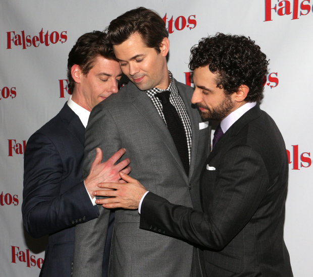 Christian Borle, Andrew Rannells, and Brandon Uranowitz bond at the opening of Falsettos.