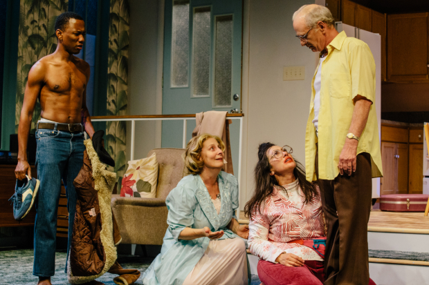 Giovanni Adams, Marilyn Fox, Annika Marks, and Michael Mantell in The Model Apartment, directed by Marya Mazor, at the Geffen Playhouse.