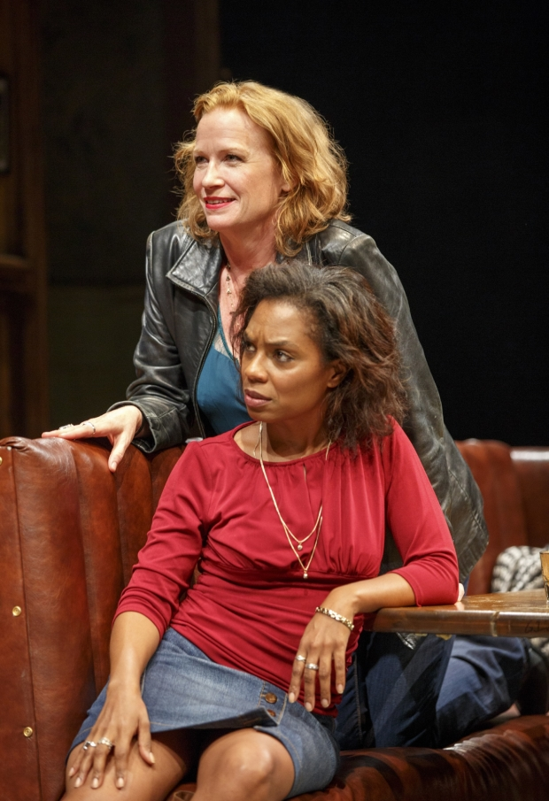 Johanna Day and Michelle Wilson in Sweat, written by Lynn Nottage and directed by Kate Whoriskey, at the Public Theater.
