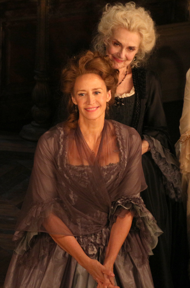 As Mary Beth Peil looks on, Janet McTeer takes her bow as La Marquise de Merteuil in Les Liaisons Dangereuses.