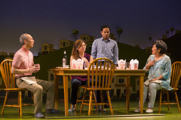 Francis Jue, Ruibo Qian, Jon Norman Schneider, and Emily Kuroda in Tiger Style!, directed by Moritz von Stuelpnagel, at the Huntington Theatre Company.