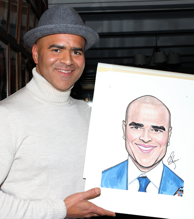Christopher Jackson shows off his brand new Sardi's caricature.