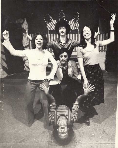 Piper (left) performing with the improv group Sons of the Sunset, which included the legendary Robin Williams (bottom center).