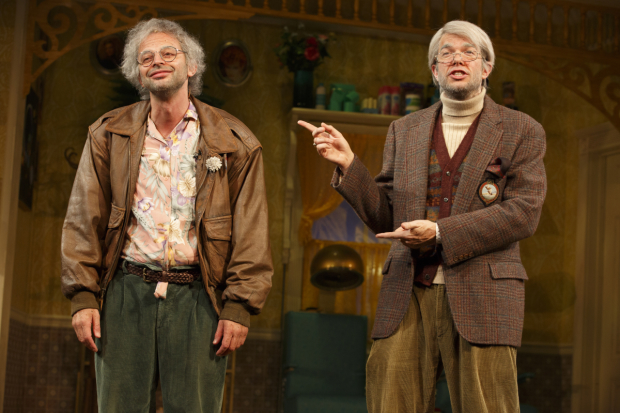 Nick Kroll and John Mulaney as Oh, Hello's Gil Faizon and George St. Geegland.