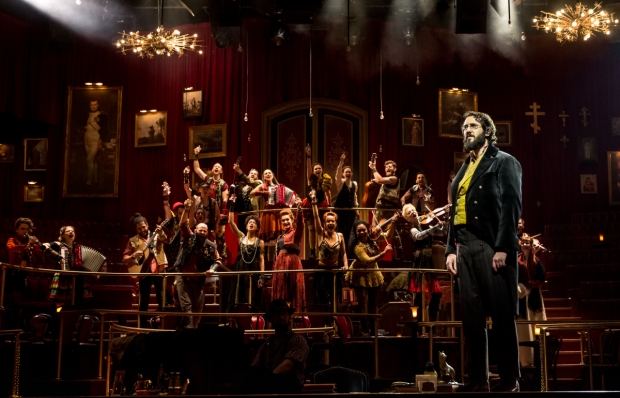 Josh Groban (right) leads a cast of actor-musicians in Natasha, Pierre & The Great Comet of 1812.