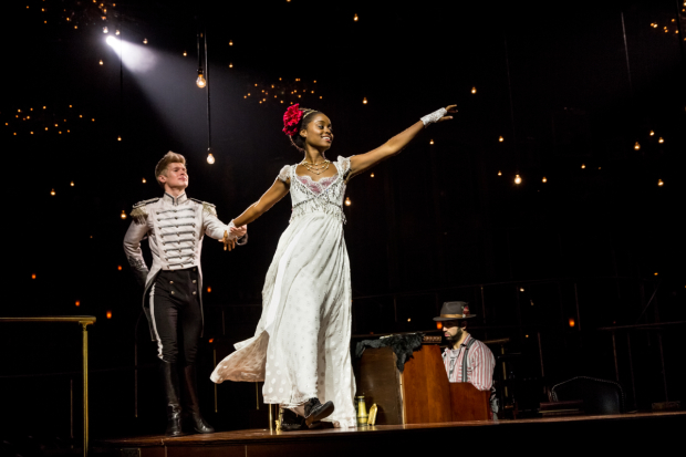 Lucas Steele plays Anatole and Denée Benton plays Natasha in Natasha, Pierre & the Great Comet of 1812.