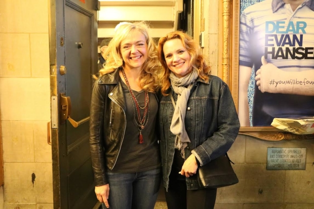 Rachel Bay Jones and Jennifer Laura Thompson pose after their first preview.