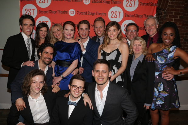 The off-Broadway cast of Dear Evan Hansen celebrating their opening night at Second Stage Theatre.