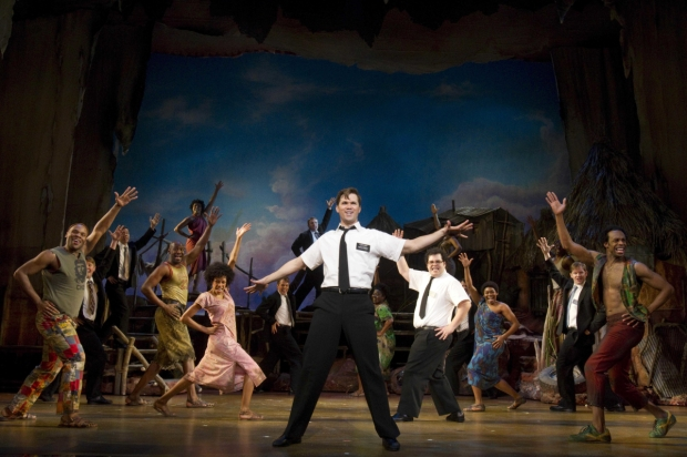 Andrew Rannells, Josh Gad, and the original Broadway cast of The Book of Mormon.
