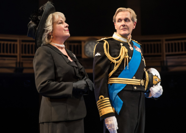 Kate Skinner and Robert Bathurst as Camilla and Charles in King Charles III, directed by Gary Griffin, at Chicago Shakespeare Theater.