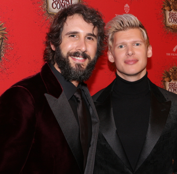 Josh Groban and Lucas Steele take a photo at the opening night party for  Natasha, Pierre & The Great Comet of 1812.