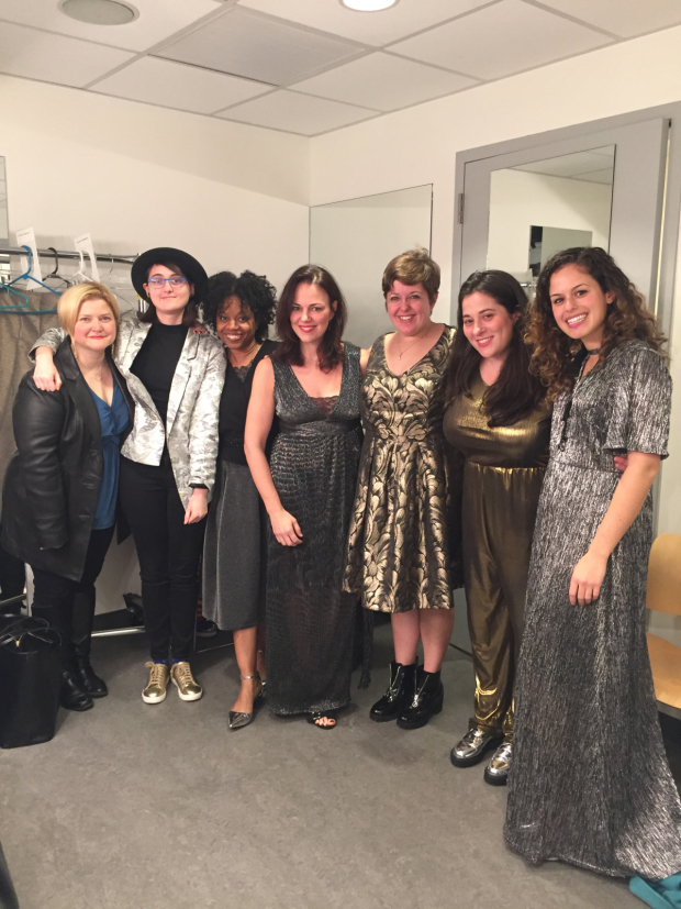 The Sweet Charity band pose backstage with their orchestrator.
