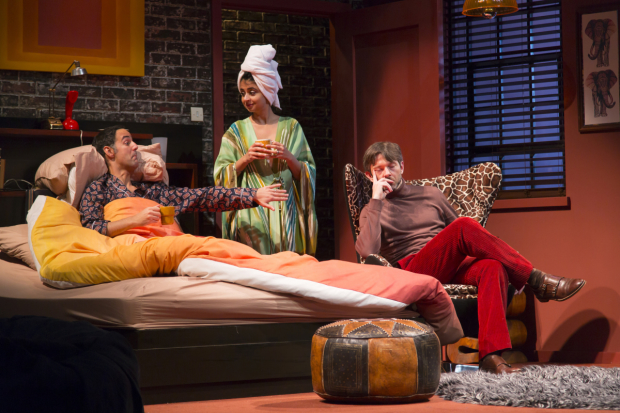 Nael Nacer, Mahira Kakkar, and Karl Miller in the Huntington Theatre Company's production of Bedroom Farce, directed by Maria Aitken.
