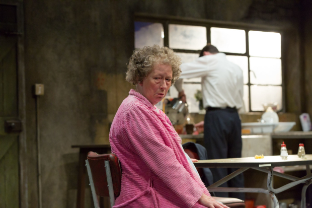 Marie Mullen and Marty Rea (background) in the Druid production of Martin McDonagh's The Beauty Queen of Leenane, directed by Garry Hynes, at the Mark Taper Forum.