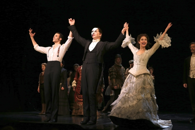 The Phantom of the Opera's Jordan Donica, James Barbour, and Ali Ewoldt take their currently call following the show's 12,000 performance on Broadway.