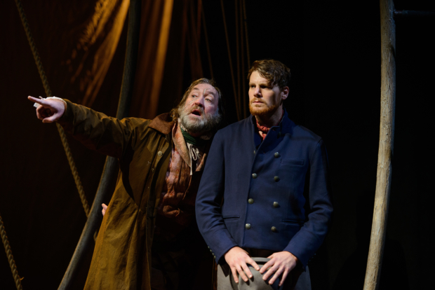 Christopher Donahue as Captain Ahab and Walter Owen Briggs as Starbuck in Moby Dick, adapted and directed by David Catlin, at Arena Stage.