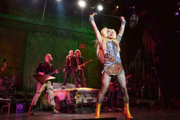 Hannah Corneau, Tits of Clay, and Euan Morton in Hedwig and the Angry Inch.