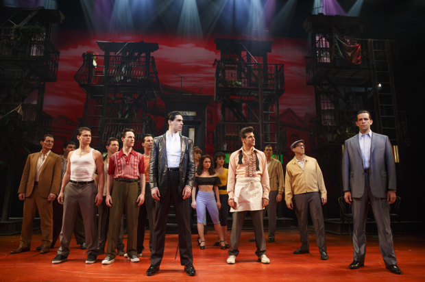 Bobby Conte Thornton (Calogero), Nick Cordero (Sonny), and the cast of A Bronx Tale, directed by Jerry Zaks and Robert De Niro, at the Longacre Theatre.
