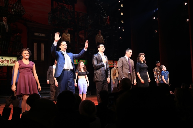 The stars of Broadway's A Bronx Tale take their opening-night bows at the Longacre Theatre.