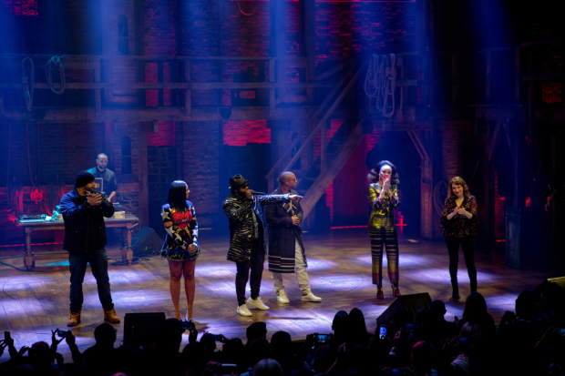 !llmind (background), Joell Ortiz, Ashanti, Black Thought, Ja Rule, Andra Day, and Regina Spektor onstage at the Richard Rodgers Theatre.