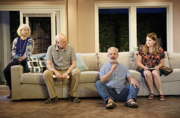 Julia Duffy, Mark Blum, Mark Zeisler, and Mare Winningham star in Dan LeFranc's Rancho Viejo, directed by Daniel Aukin, at Playwrights Horizons.