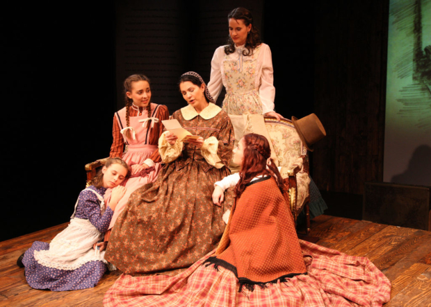 Alea Jordan, Emma Nossal, Rachel Oliveros Catalano, Laura M. Hathaway, and Ashley Arlene Nelson in Little Women, directed by Casey Long, at Chance Theater.
