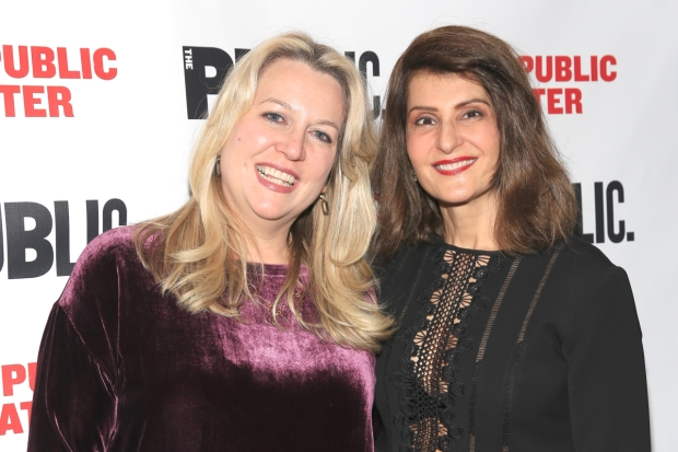 Cheryl Strayed and Nia Vardalos celebrate the opening night of Tiny Beautiful Things at the Public Theater.
