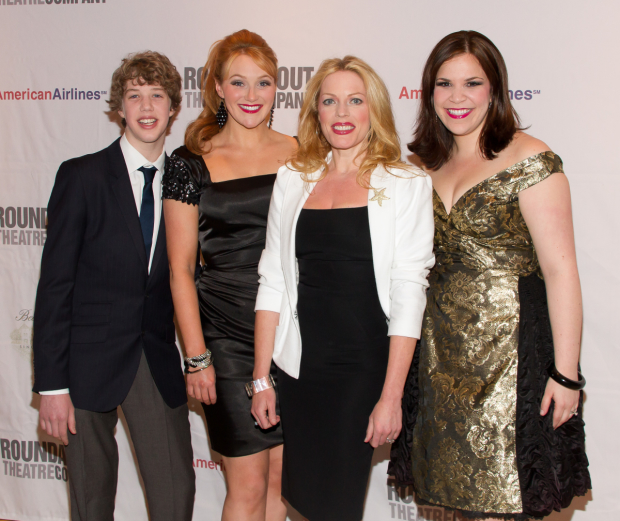Eamon Foley (left) with Betsy Wolfe, Sherie Rene Scott, and Lindsay Mendez at the 2010 Broadway opening of Everyday Rapture.