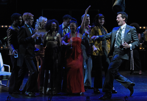 Aaron Lazar (right) as Franklin Shepard in Merrily We Roll Along at the Wallis Annenberg Center for the Performing Arts.