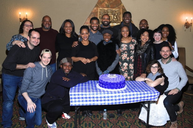 Members of the Color Purple crew join the cast and cake.