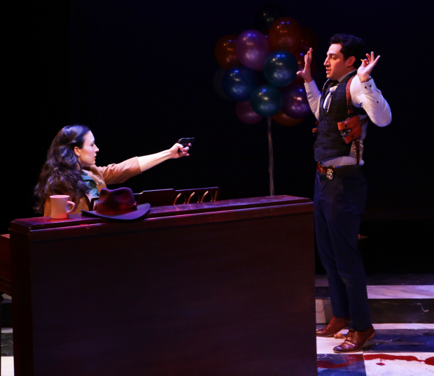 Jared Troilo and Kirsten Salpini in Murder for Two, directed by A. Nora Long, at Lyric Stage Company.