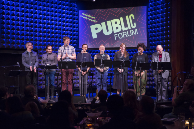 The cast of The Long Christmas Dinner at Joe's Pub.