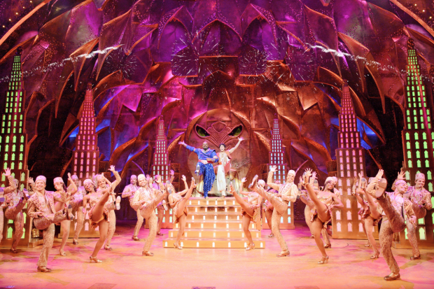 James Monroe Iglehart and Adam Jacobs in Aladdin.