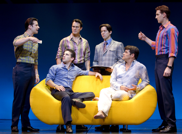 Dominic Nolfi, Jarrod Spector, Matt Bogart, Erik Bates, Peter Gregus, and Ryan Jesse in Broadway's Jersey Boys in 2010.