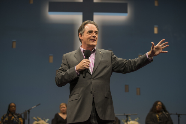 Tom Irwin as Pastor Paul in Lucas Hnath's The Christians, directed by K. Todd Freeman, at Steppenwolf Theatre.