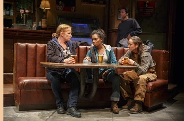 Johanna Day, Michelle Wilson, and Miriam Shor in Lynn Nottage's Sweat at the Public Theater.