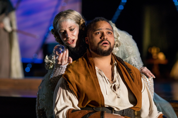 Samantha Richert (Ariel) and Kai Tshikosi (Ferdinand) in The Tempest, directed by Allyn Burrows, at Actors' Shakespeare Project.