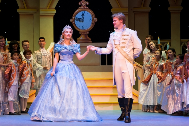 Lauren Tylor and Kenton Duty in A Cinderella Christmas, directed by Bonnie Lythgoe, at Pasadena Playhouse.