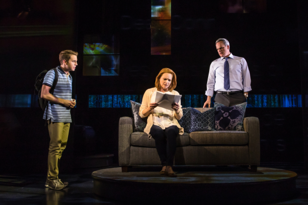 Ben Platt, Jennifer Laura Thompson, and Michael Park in Dear Evan Hansen at the Music Box Theatre.