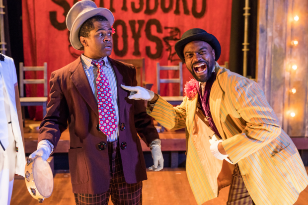 Brandon G. Green and Maurice Emmanuel Parent in The Scottsboro Boys, directed by Paul Daigneault, at SpeakEasy Stage Company.