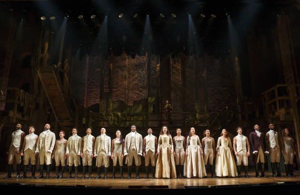 The full Hamilton cast onstage at the Richard Rodgers.