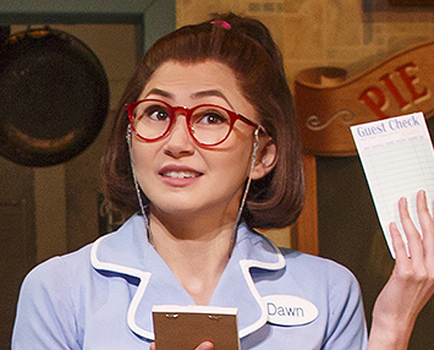 Kimiko Glenn as Dawn in Waitress at the Brooks Atkinson Theatre.