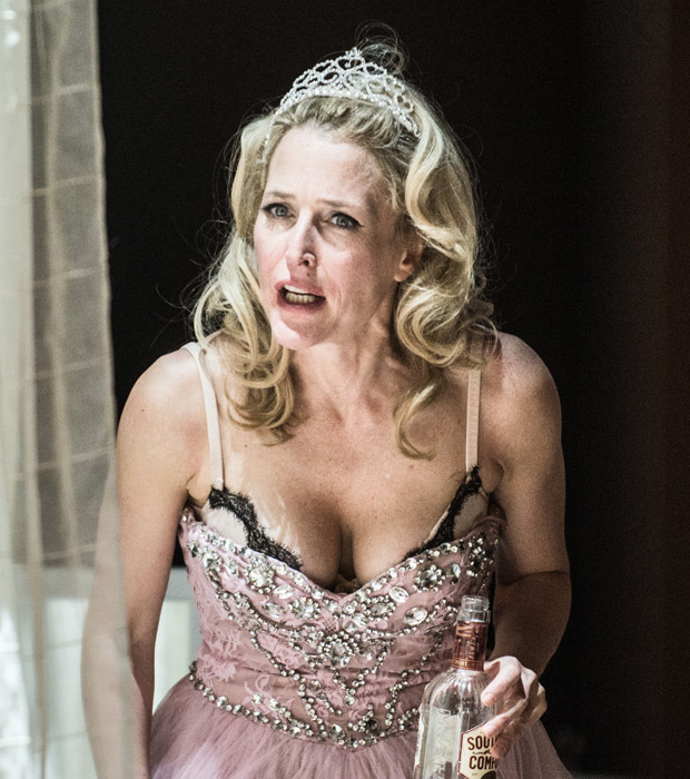 Gillian Anderson as Blanche DuBois in A Streetcar Named Desire at St. Ann's Warehouse.